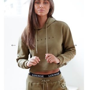 NEW Lounge Apparel Cropped Moss Hoody Green Medium